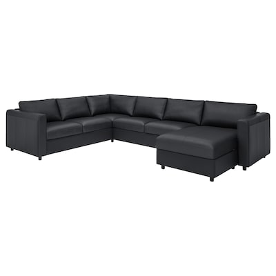 VIMLE Corner sofa, 5-seat, with chaise longue/Grann/Bomstad black