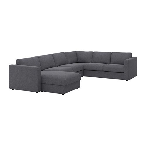 VIMLE Corner sofa, 5-seat - with chaise longue/Gunnared medium grey ...