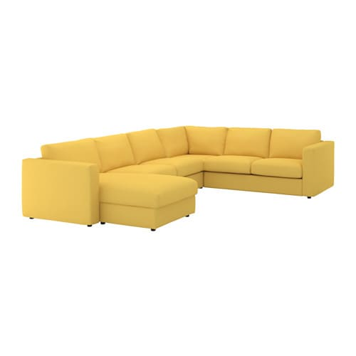 vimle corner sofa 5 seat with chaise longue orrsta golden yellow ikea. Black Bedroom Furniture Sets. Home Design Ideas