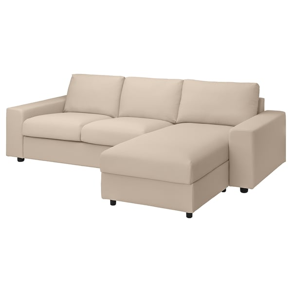 VIMLE Cover 3-seat sofa w chaise longue, with wide armrests/Hallarp beige
