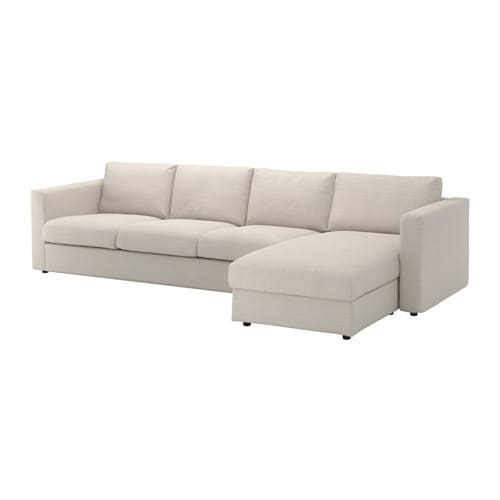 Vimle 4 seat sofa with chaise longue gunnared beige ikea for Chaise longue ikea