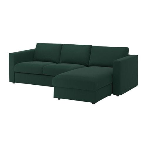 Vimle 3 Seat Sofa With Chaise Longue Gunnared Dark Green