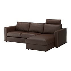 VIMLE 3-seat sofa, with chaise longue with headrest, Farsta dark brown