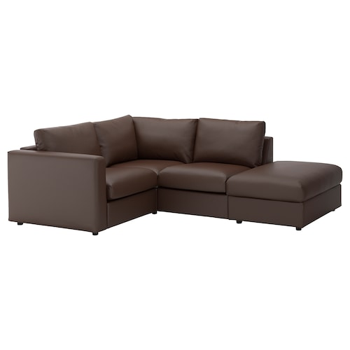 VIMLE corner sofa, 3-seat with open end/Farsta dark brown 80 cm 98 cm 235 cm 195 cm 122 cm 179 cm 4 cm 15 cm 65 cm 55 cm 45 cm