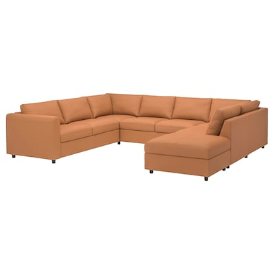 VIMLE U-shaped sofa, 6 seat, with open end/Grann/Bomstad golden-brown