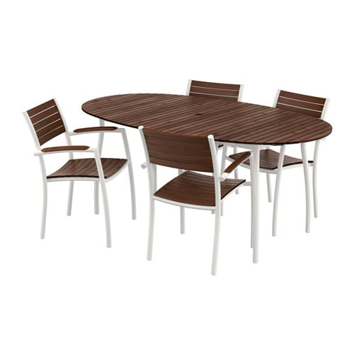 Vindals table and 4 chairs with armrests ikea - Ikea mesas exterior ...