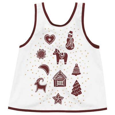 VINTER 2020 Children's apron, gingerbread pattern white/brown, 2-4