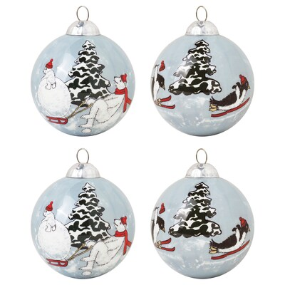 VINTER 2020 Decoration, bauble, animal pattern grey, 7 cm