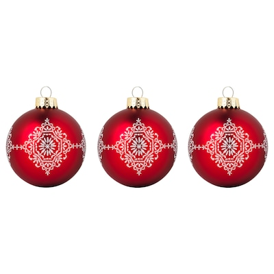 VINTER 2020 Decoration, bauble, glass red/white, 8 cm
