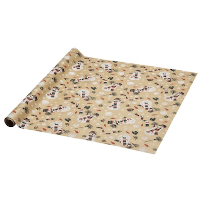 VINTER 2020 Gift wrap roll, snowman pattern brown, 3x0.7 m