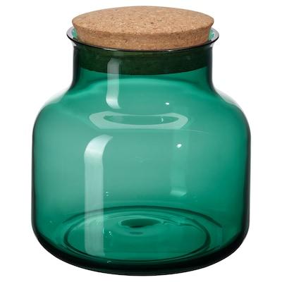 VINTER 2021 Jar with lid, dark green/cork, 1.7 l