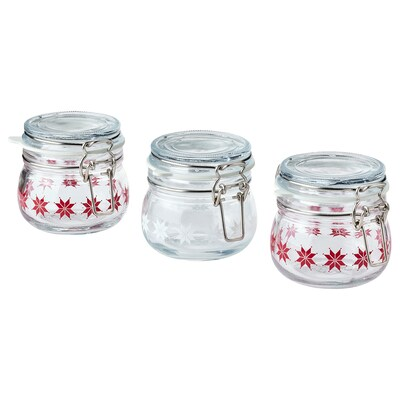 VINTER 2021 Jar with lid, star pattern red/white, 13 cl