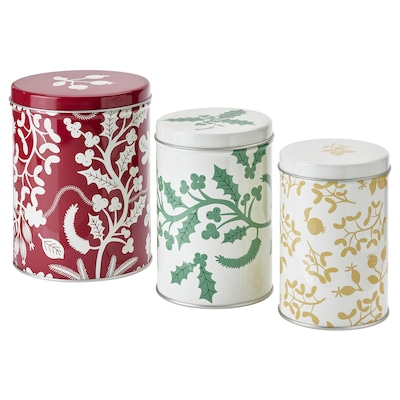 VINTER 2021 Tin with lid, set of 3, mixed sizes mixed colours