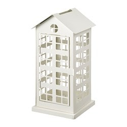 VINTERFEST block candle holder, house, white
