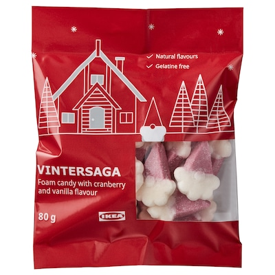VINTERSAGA Foam candy, cranberry with vanilla flavour, 80 g