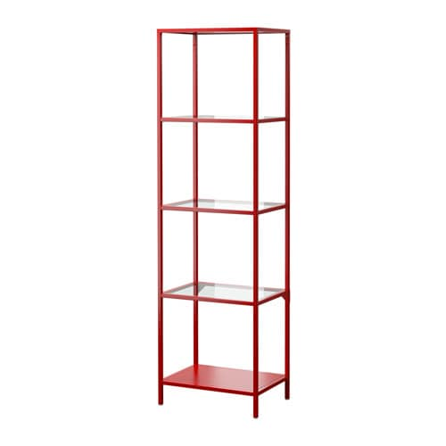 VITTSJ Shelving Unit Red Glass IKEA