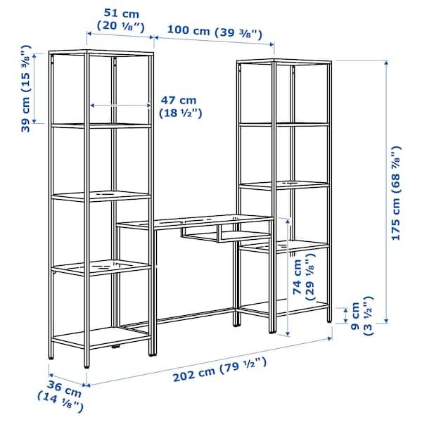 VITTSJÖ Shelving unit with laptop table, black-brown/glass, 202x36x175 cm