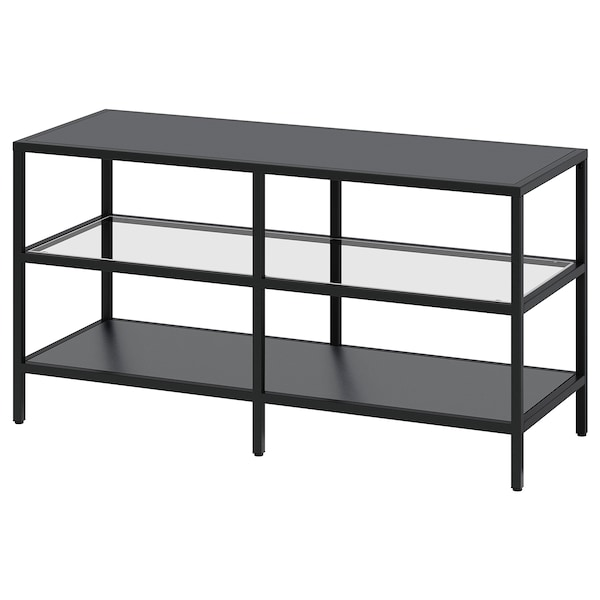 VITTSJÖ TV bench, black-brown/glass, 100x36x53 cm