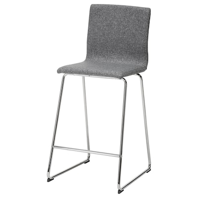 VOLFGANG Bar stool with backrest, chrome-plated/Gunnared medium grey, 67 cm