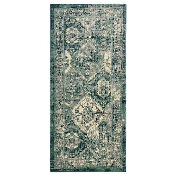 VONSBÄK Rug, low pile, green, 80x180 cm