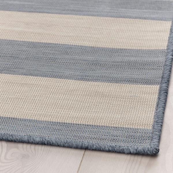 VRENSTED Rug flatwoven, in/outdoor, beige/light blue, 133x195 cm