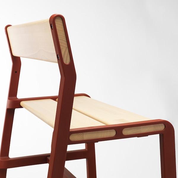 YPPERLIG Children's bench, beech/dark red, 65x35 cm
