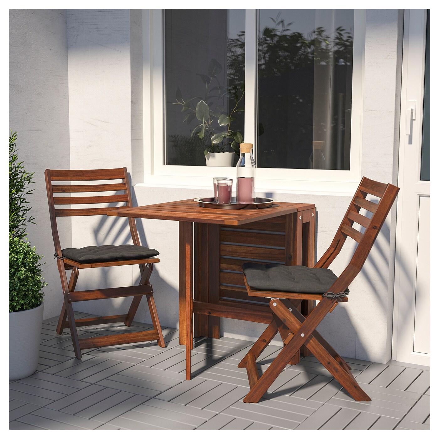 ÄpplarÖ table+2 chaises pliantes, extérieur teinté brun - ikea