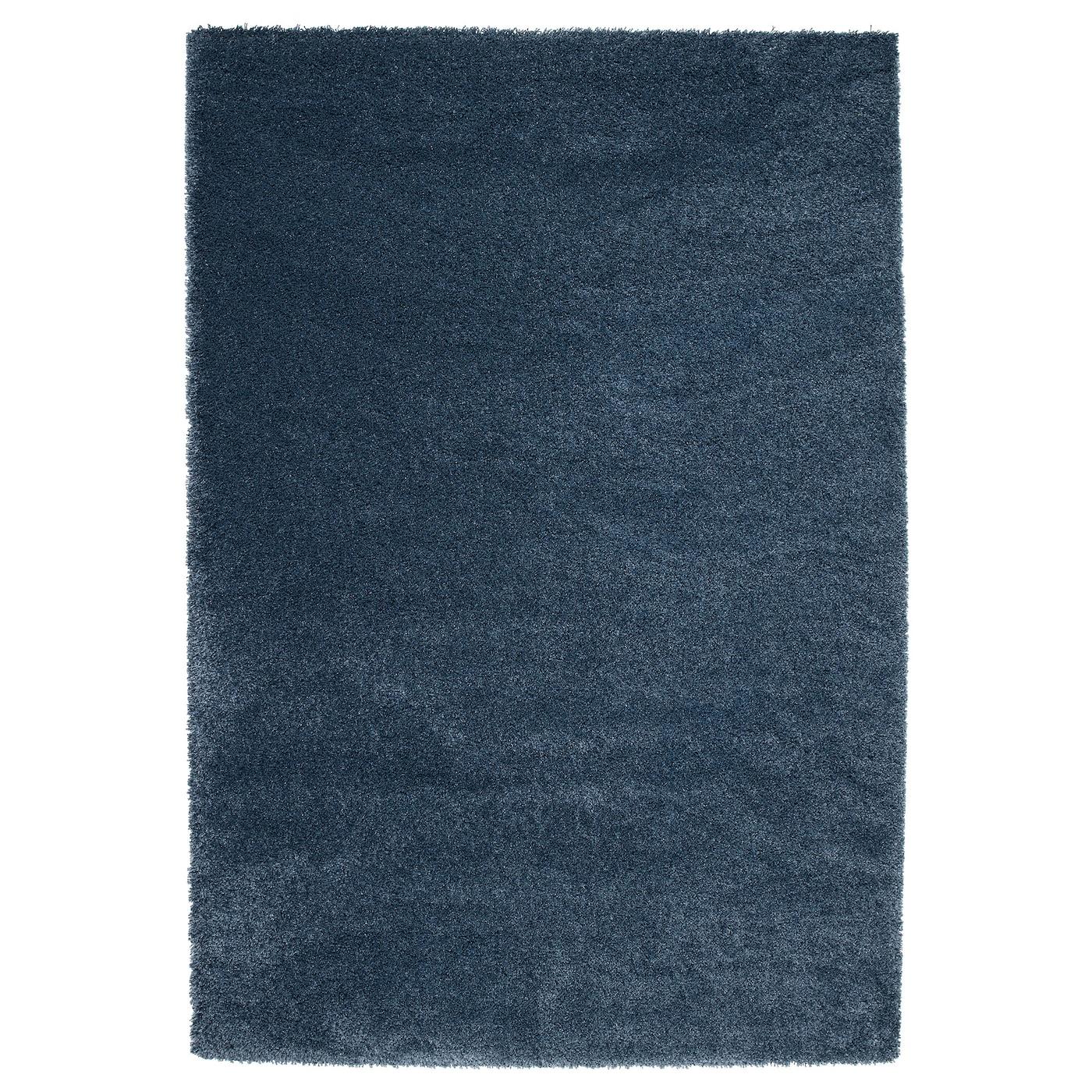 Dum tapis poils hauts bleu fonc 133 x 195 cm ikea - Tapis bleu ikea ...