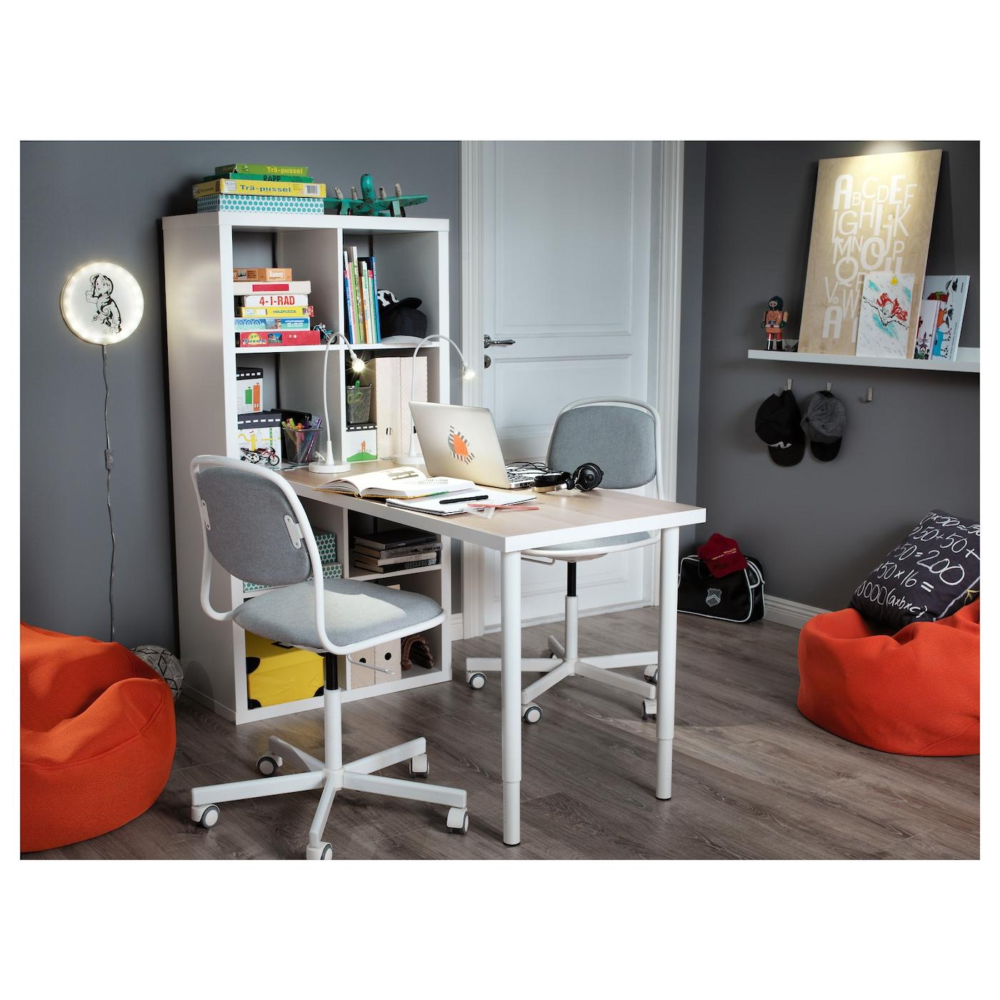 ORFJALL Chaise De Bureau Enfant Blanc Vissle Gris Clair