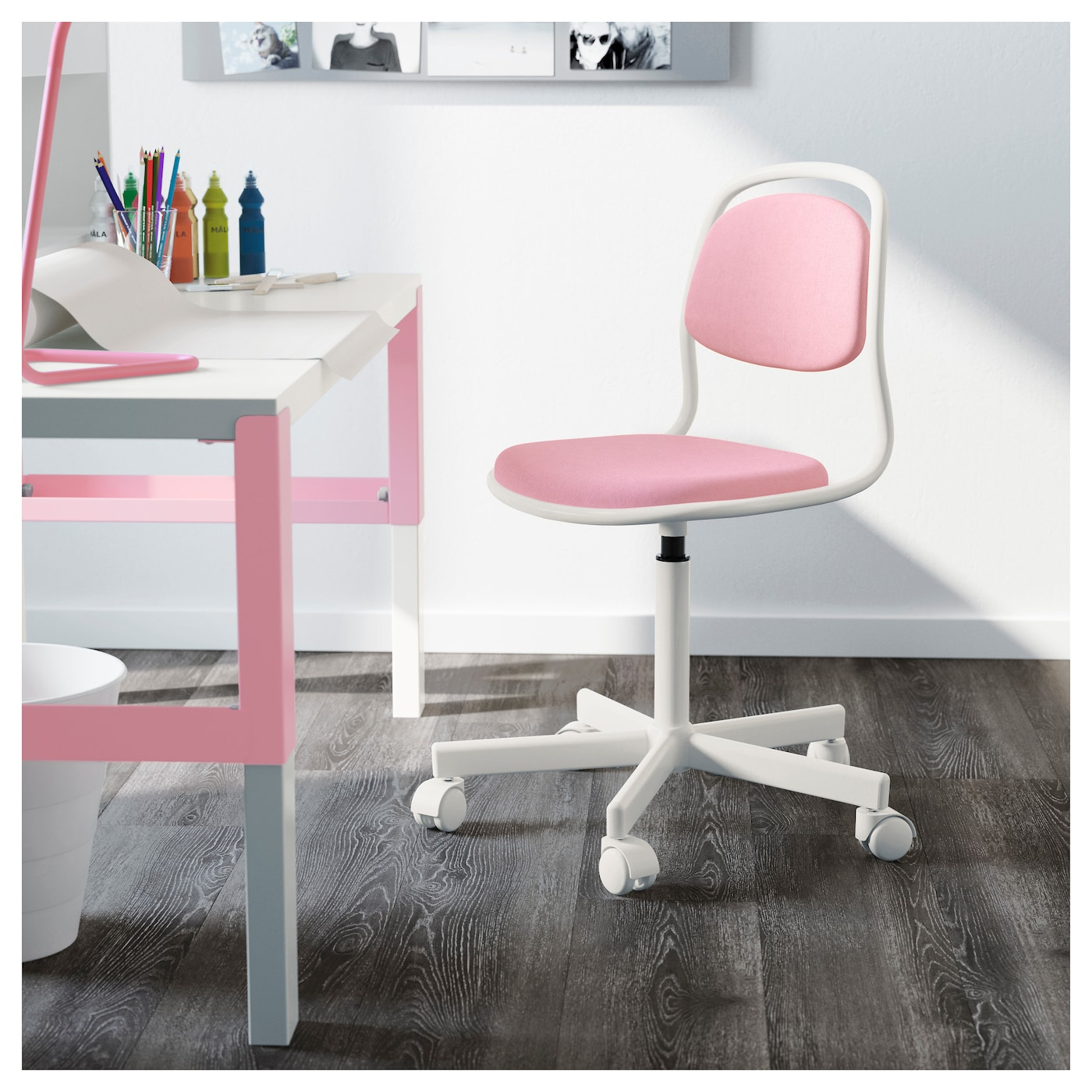 rfj ll chaise de bureau enfant blanc vissle rose ikea. Black Bedroom Furniture Sets. Home Design Ideas