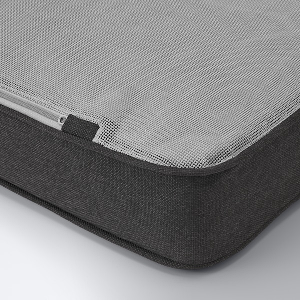 ÄPPLARÖ Canapé d'angle mod 3pl, ext, teinté brun/Järpön/Duvholmen anthracite, 143/223x80x86 cm