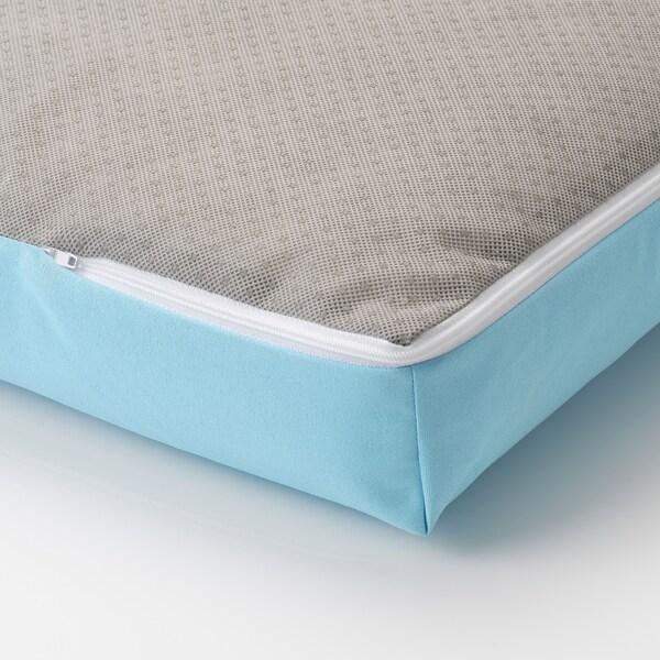 ÄPPLARÖ Canapé d'angle mod 3pl, ext, teinté brun/Kuddarna bleu clair, 143/223x80x80 cm