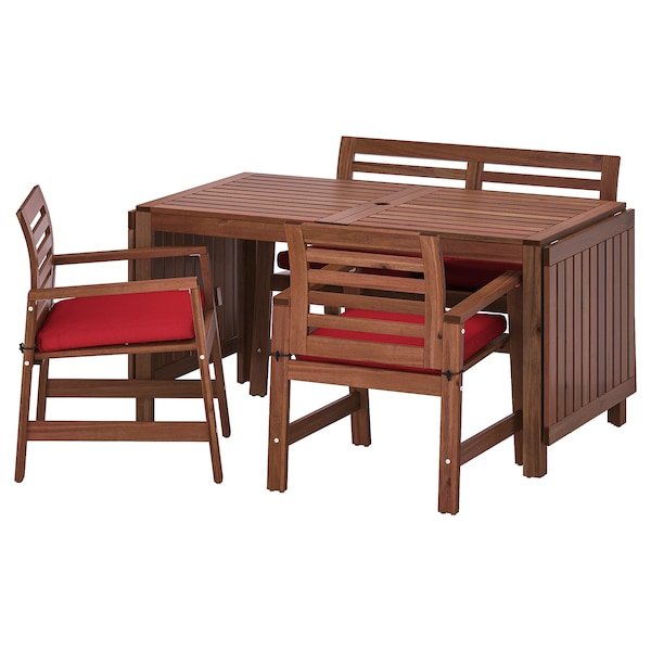 ÄPPLARÖ Table+2 ch accoud+banc, extérieur, teinté brun/Frösön/Duvholmen rouge