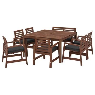 ÄPPLARÖ Table+6 chaises accoudoir+banc, ex, teinté brun/Järpön/Duvholmen anthracite