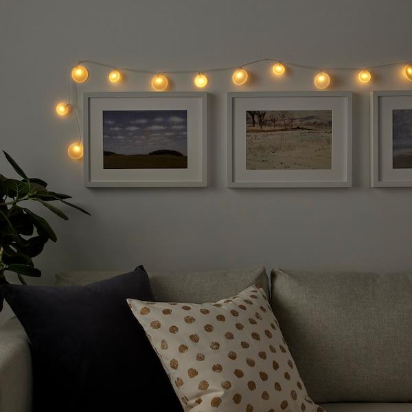 AKTERPORT Guirlande lumineuse à LED 12 amp, à pile/galets blanc