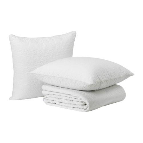 alina couvre lit et 2 housses coussin blanc 260x280 65x65 cm ikea. Black Bedroom Furniture Sets. Home Design Ideas
