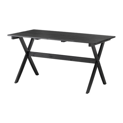 Ngs table ext rieur teint brun noir ikea for Table exterieur noire