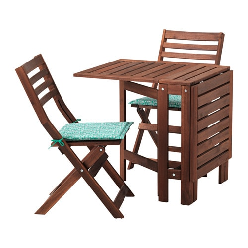Pplar table 2 chaises pliantes ext rieur pplar teint brun n st n vert - Chaises pliantes ikea ...