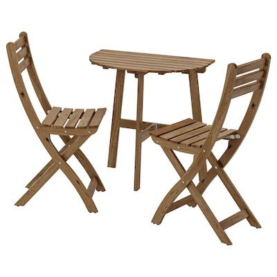 ASKHOLMEN Table mur+2 chaises pliantes, ext, teinté brun clair