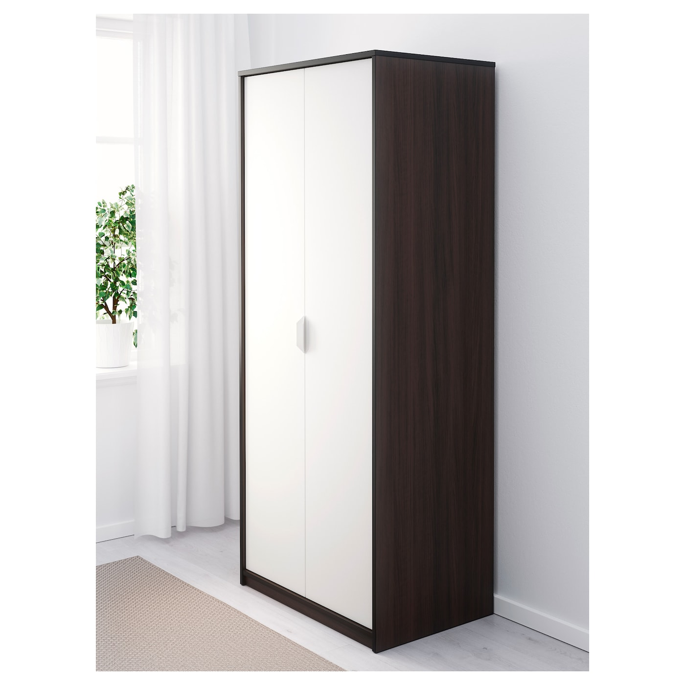 askvoll armoire brun noir blanc 80 x 52 x 189 cm ikea. Black Bedroom Furniture Sets. Home Design Ideas