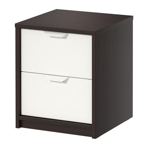 askvoll commode 2 tiroirs brun noir blanc 41x48 cm ikea. Black Bedroom Furniture Sets. Home Design Ideas