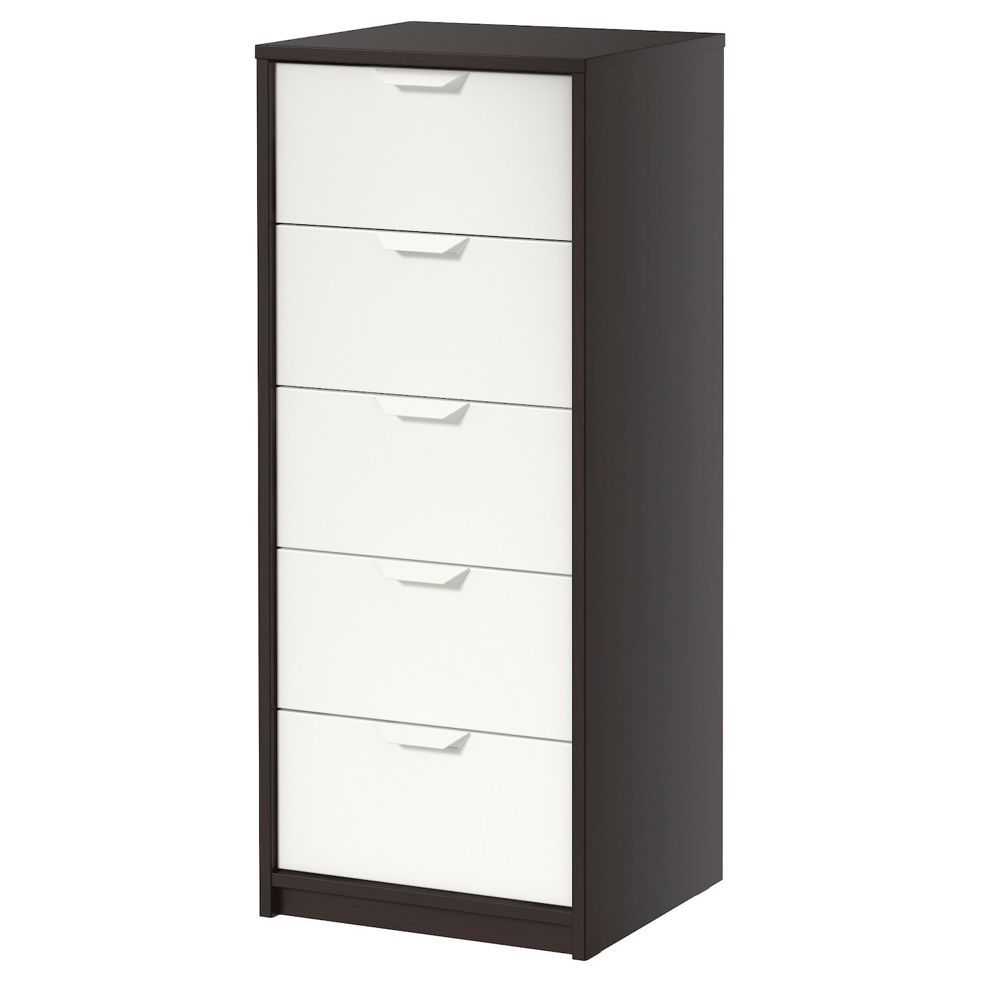 Askvoll commode 5 tiroirs brun noir blanc 45x109 cm ikea for Ikea blanc commode