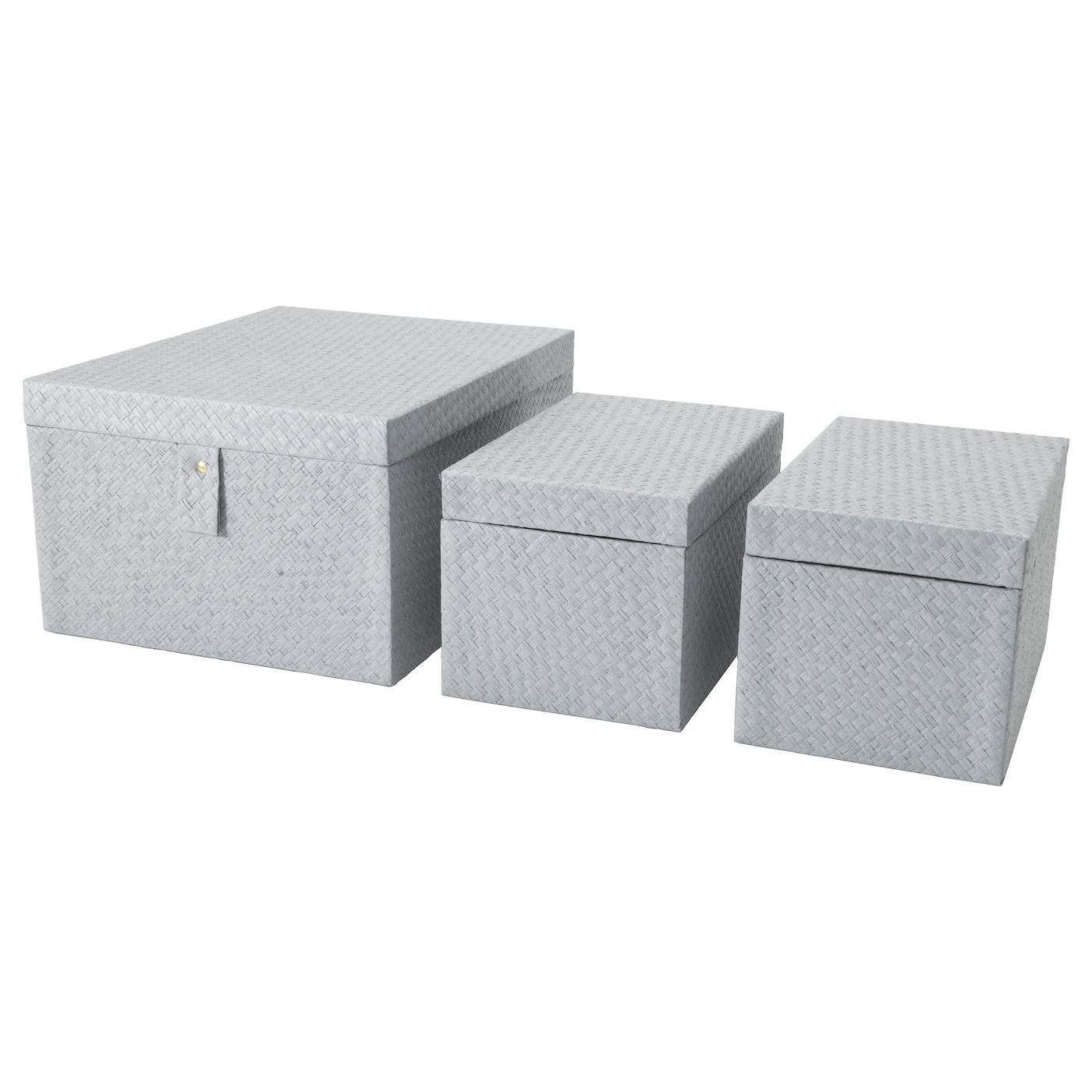 batting bo te 3 pi ces gris ikea. Black Bedroom Furniture Sets. Home Design Ideas