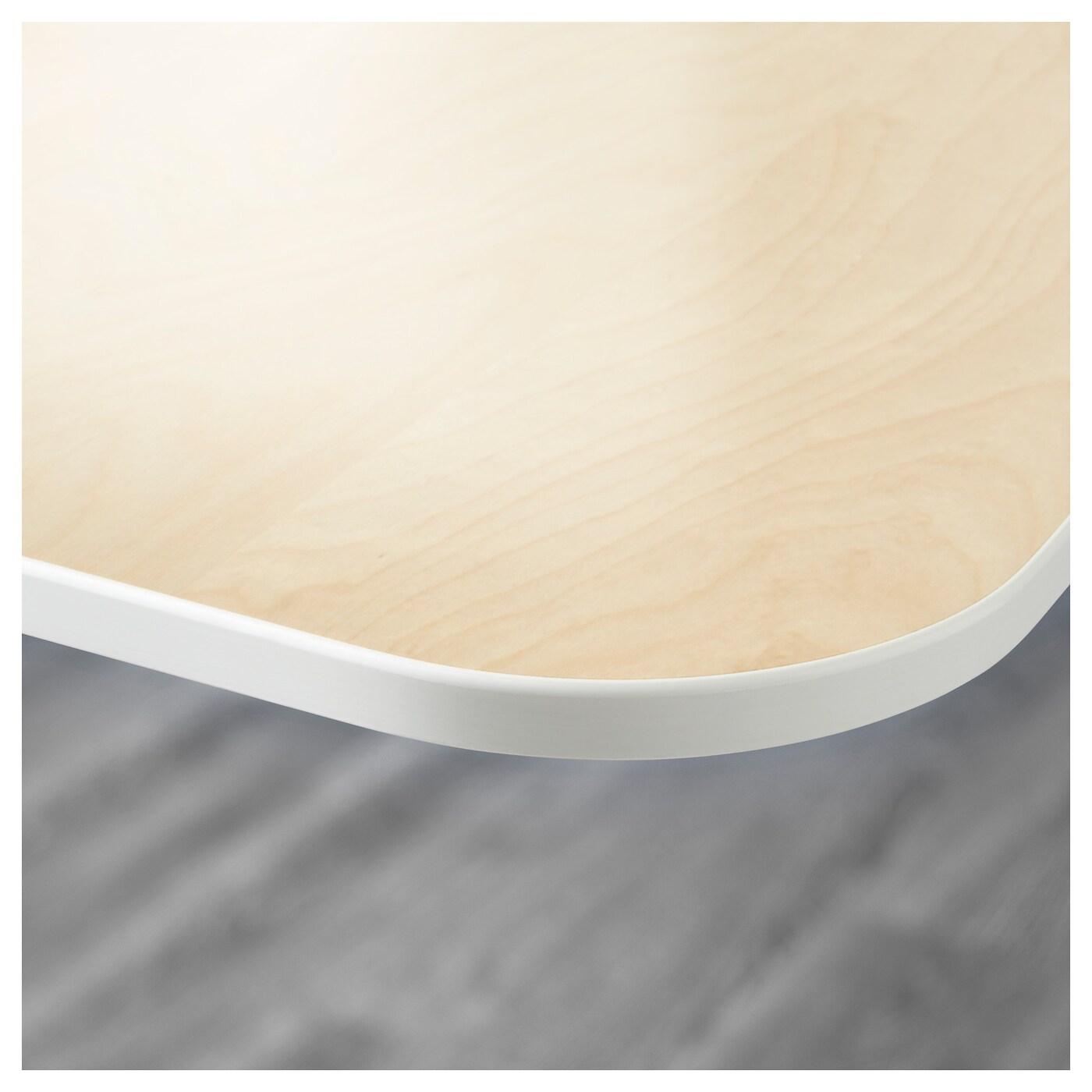 bekant bureau assis debout av cran plaqu bouleau blanc 160x160 120 cm ikea. Black Bedroom Furniture Sets. Home Design Ideas