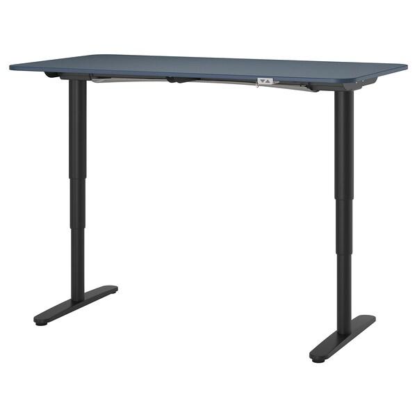 BEKANT Bureau assis/debout, linoléum bleu/noir, 160x80 cm