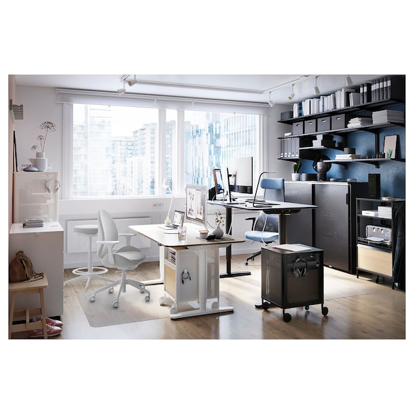 BEKANT Bureau assis/debout, plaqué chêne blanchi/blanc, 160x80 cm