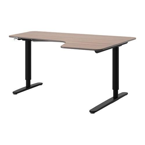 bekant bureau d 39 angle dr assis debout gris noir ikea. Black Bedroom Furniture Sets. Home Design Ideas