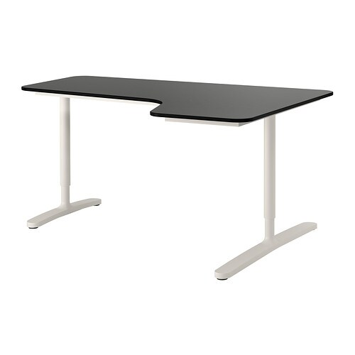 Bekant bureau d 39 angle drt brun noir blanc ikea - Bureau noir et blanc ikea ...