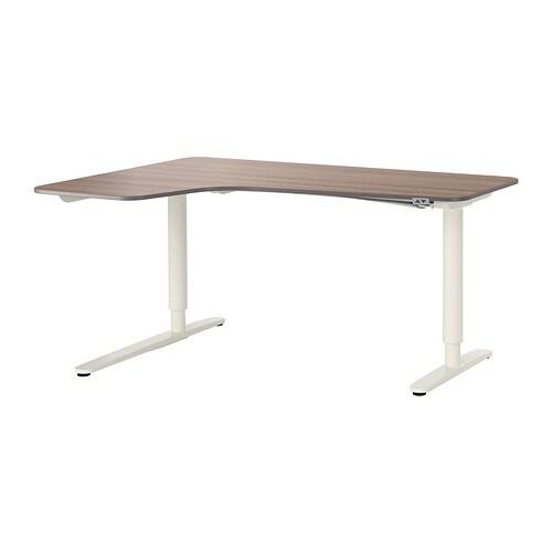 bekant bureau d 39 angle gch assis debout gris blanc ikea. Black Bedroom Furniture Sets. Home Design Ideas