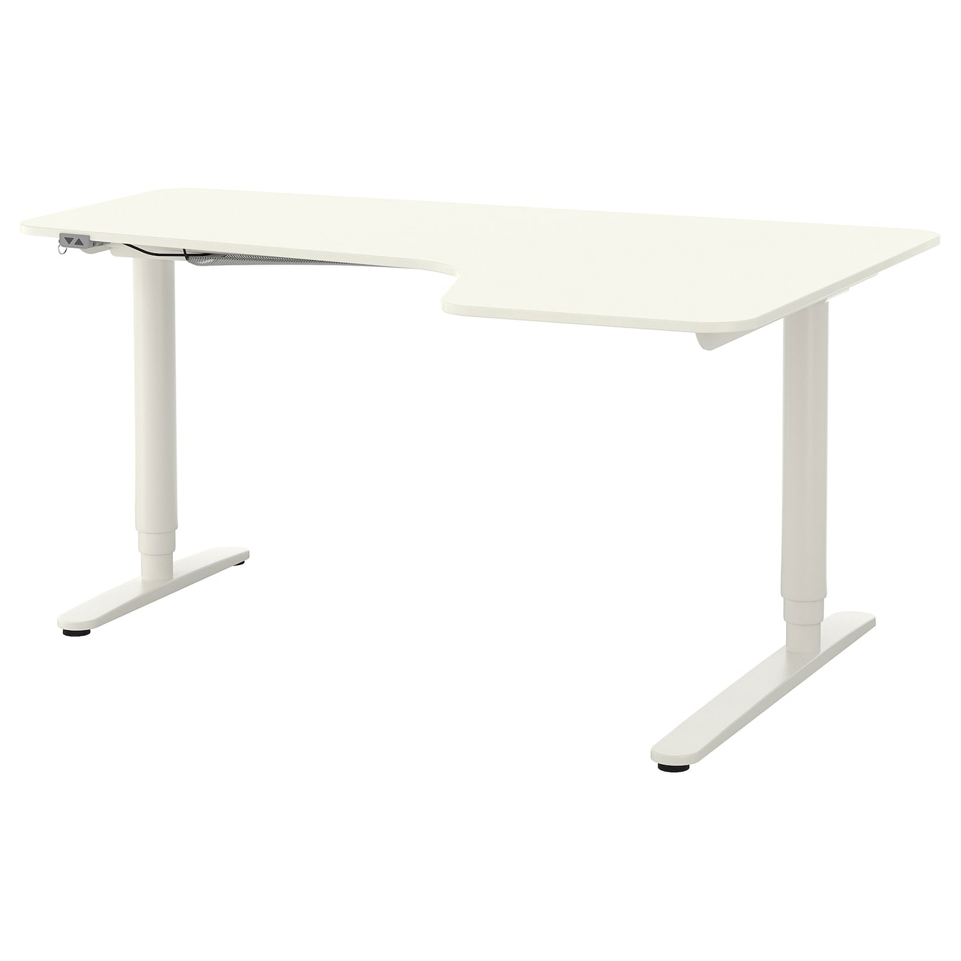 bekant bureau d 39 angle dr assis debout blanc 160 x 110 cm. Black Bedroom Furniture Sets. Home Design Ideas